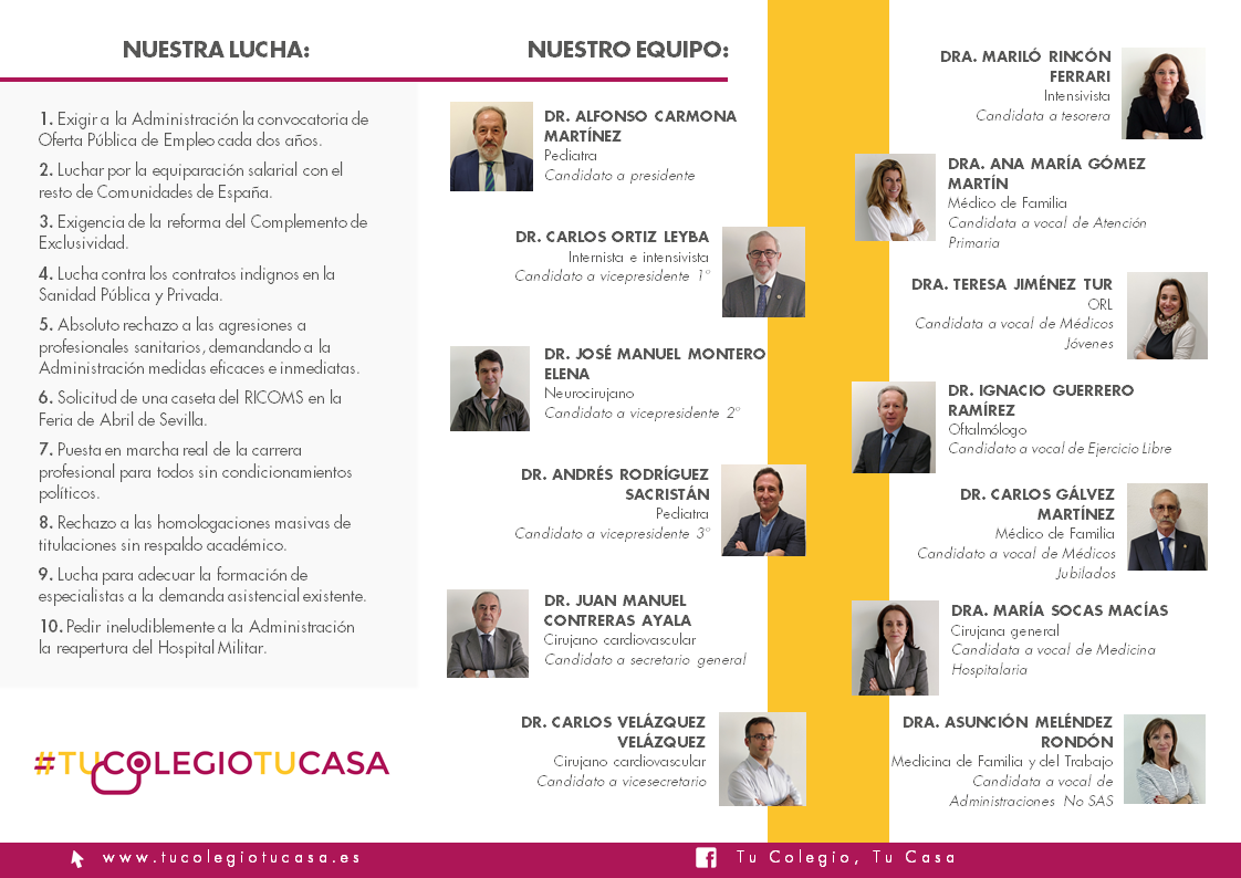 El Dr. Alfonso Carmona, candidato a presidente del Colegio de Médicos de Sevilla