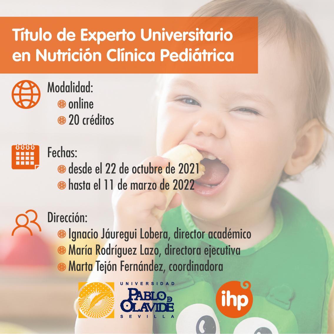 Grupo IHP y la Universidad Pablo de Olavide lanzan un nuevo posgrado de Nutrición Clínica Pediátrica