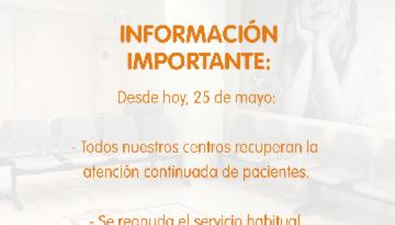 Comunicado oficial IHP: reanudación de servicios de atención continuada en centros periféricos